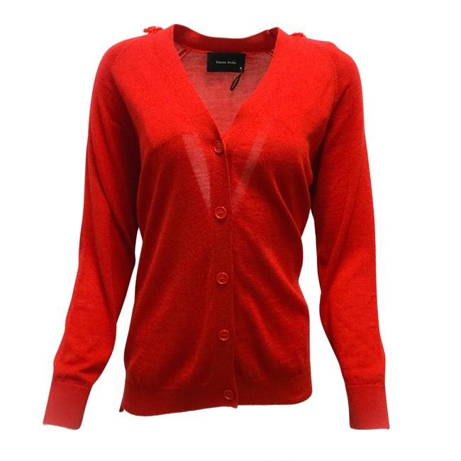 Item - Cardigan with Beaded Bows Red Sweater