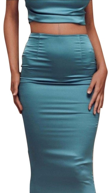Turquoise Matching Set Top and Bottom Long Night Out Dress Size 6 (S) Turquoise Matching Set Top and Bottom Long Night Out Dress Size 6 (S) Image 1