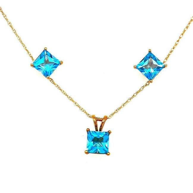 Item - Blue 10k Princess Cut Topaz Set