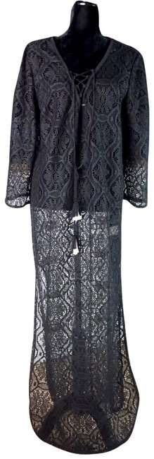 Item - Black L Riley Caftan Lace New Cover-up/Sarong Size 12 (L)