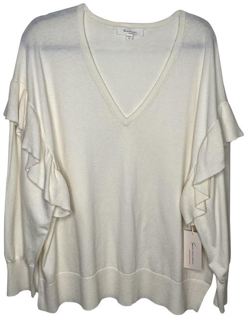 Vince Camuto Two By Ivory Ruffle Cream Sweater Vince Camuto Two By Ivory Ruffle Cream Sweater Image 1