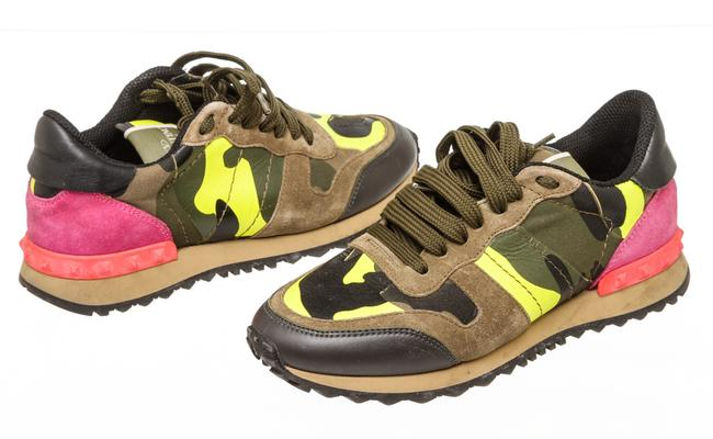 Item - Yellow Green Pink Rc 500201 Suede and Leather Camo-print Sneakers Size EU 35 (Approx. US 5) Regular (M, B)