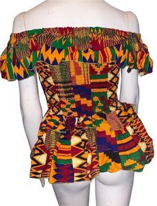 All African Art Gallery Top multicolor, blue green red orange black yellow