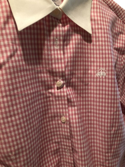 Item - Pink Nd White Dress Shirt Button-down Top Size 10 (M)