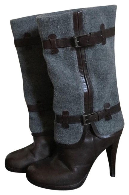 Item - Grey and Brown Kennedy Buckle Boots/Booties Size US 8.5 Regular (M, B)