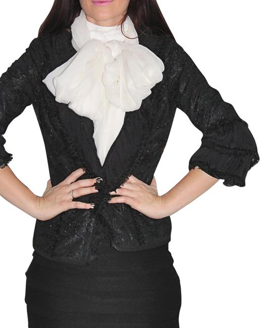 Item - Black Vintage 3/4 Sleeve Ruffle Ruched Jacket Size 8 (M)