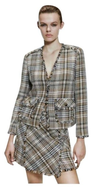 Item - Frayed Checked Plaid Tweed Jacket Blazer Size 8 (M)