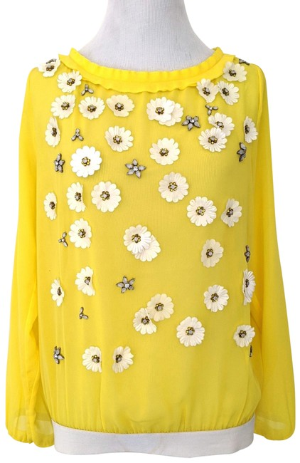 Item - Yellow Sheer Embellished Long-sleeved Blouse Size 6 (S)