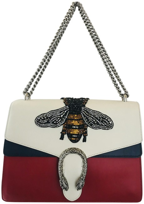 Gucci Dionysus Large Bee Applique Blue White Red Leather Shoulder Bag Gucci Dionysus Large Bee Applique Blue White Red Leather Shoulder Bag Image 1