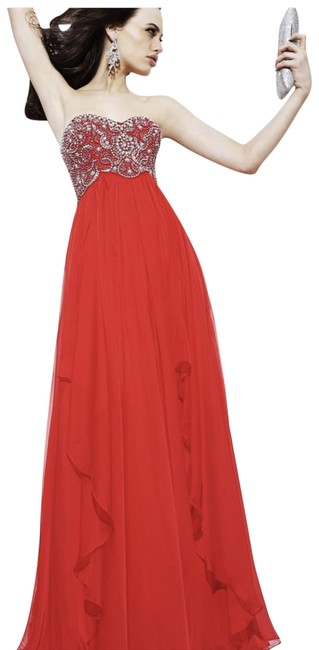 Item - Red 3802 Beaded Long Formal Dress Size 6 (S)