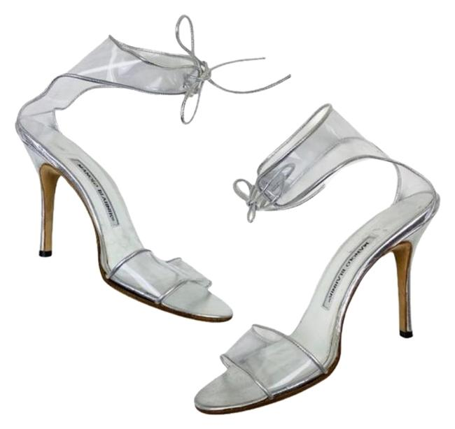 Item - Clear Silver Lucite Strappy Pumps Size EU 37.5 (Approx. US 7.5) Regular (M, B)