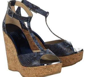 Jimmy Choo Sandal Cork Ankle Strap Snakeskin blue Wedges