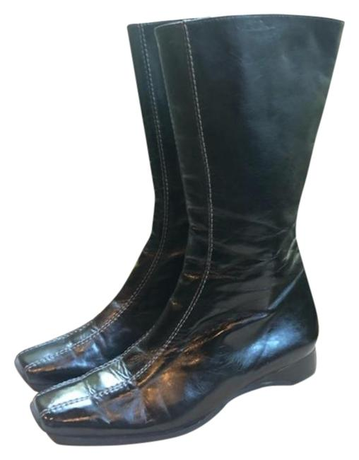 Item - Black Leather Mid Calf Flat Boots/Booties Size US 6.5 Regular (M, B)