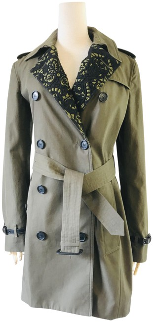 Burberry Military Green Embroidery Coat Size 4 (S) Burberry Military Green Embroidery Coat Size 4 (S) Image 1