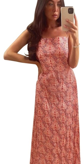 Item - Pink Printed Open Long Casual Maxi Dress Size 16 (XL, Plus 0x)