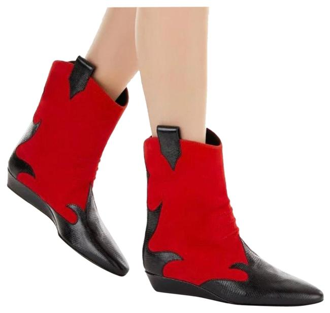 Item - Black & Red Western Boots/Booties Size US 7 Regular (M, B)