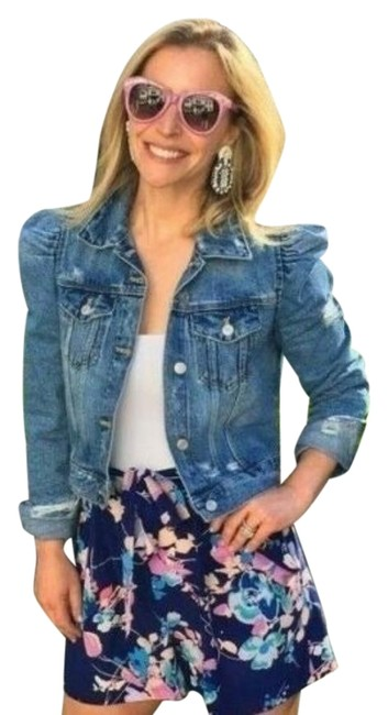 Item - Blue Ripped Puff Shoulder Jean Jacket Size 4 (S)