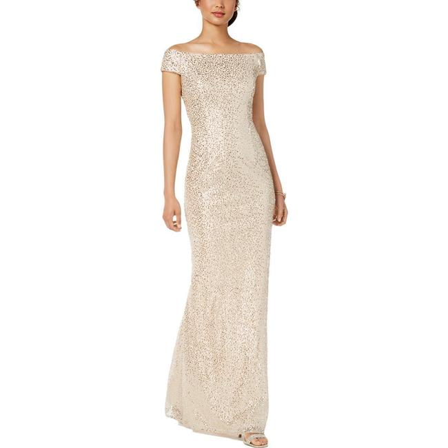 Item - Nude Sequined Off-the-shoulder Long Cocktail Dress Size 2 (XS)