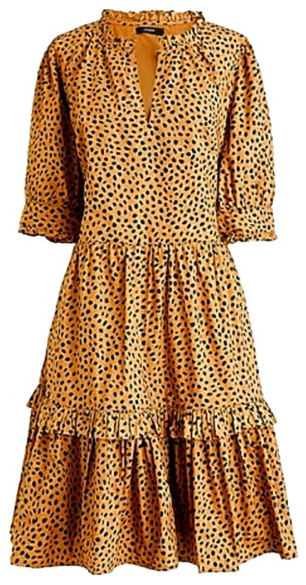 J.Crew Camel Dots Ruffle Neck Tiered Pop-over In Leopard Mid-length Cocktail Dress Size 6 (S) J.Crew Camel Dots Ruffle Neck Tiered Pop-over In Leopard Mid-length Cocktail Dress Size 6 (S) Image 1