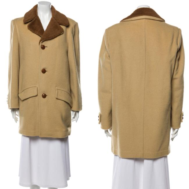 Item - Tan and Brown Mid Length Wool Coat Size 12 (L)