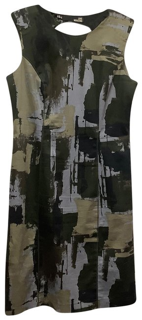 Love Moschino Green Camouflage Mid-length Formal Dress Size 10 (M) Love Moschino Green Camouflage Mid-length Formal Dress Size 10 (M) Image 1