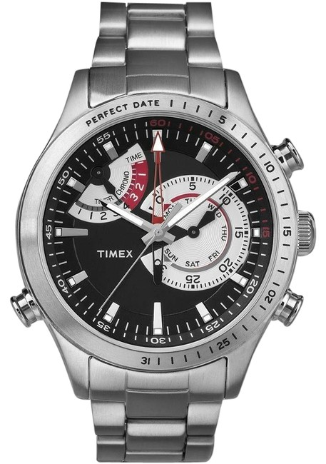 Timex Silver Intelligent Quartz Tw2p73000 Chronograph Black Dial Stainless St Watch Timex Silver Intelligent Quartz Tw2p73000 Chronograph Black Dial Stainless St Watch Image 1