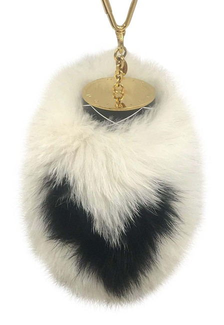 Item - Fuzzy V Charm Key Chain Holder White Black Gold Tone Bag Ring Limited Mink Fur Fox Patent Leather Rare Wristlet