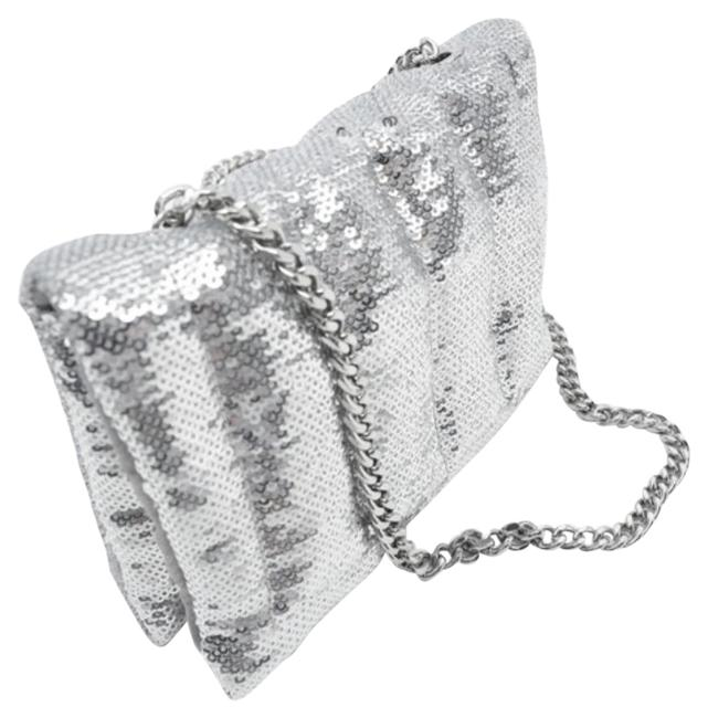 Item - Sequin Quilted Mini Silver Fabric Cross Body Bag