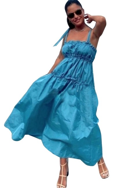 Item - Blue W Taffeta W/ Elastic Layers Mid-length Casual Maxi Dress Size 16 (XL, Plus 0x)