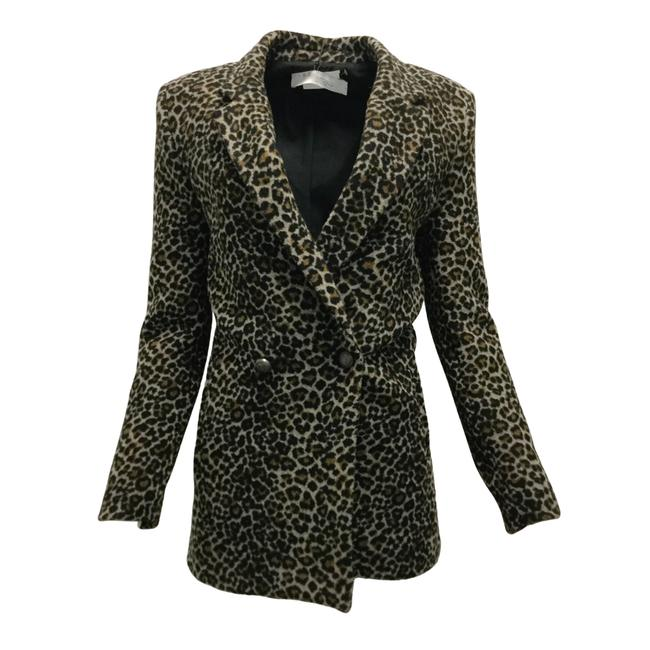 Item - Brown 'shadow' Leopard Print Double Breasted Knit Blazer Size 4 (S)