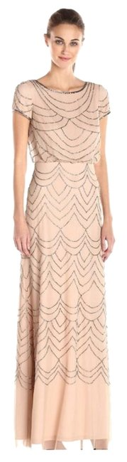 Item - Taupe/Pink Short Sleeve Blouson Beaded Gown Long Cocktail Dress Size 6 (S)