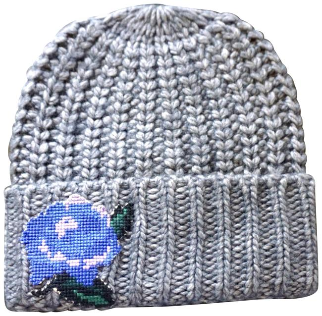 Item - Grey Everything Rosy Embroidered Beanie New Hat