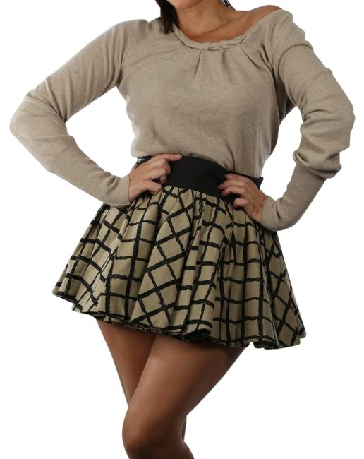 Item - Beige Black Check Pleated Swing Daisy Skirt Size 6 (S, 28)