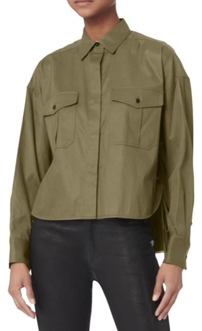 Item - Army Green Mason Laced Up Shirt Button-down Top Size 4 (S)