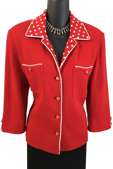 Item - Red White Collection Jacket Knit Suit Blazer Size 10 (M)