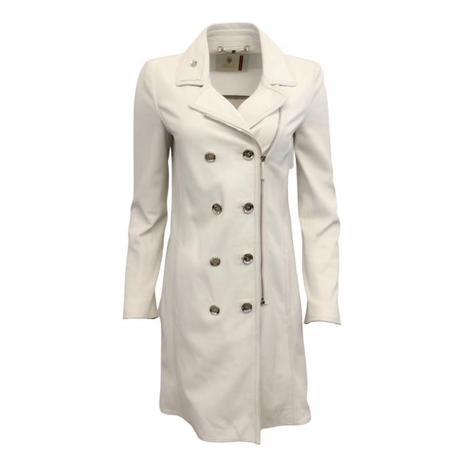 Item - White Double Breasted Leather Coat Size 4 (S)