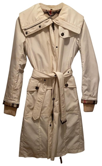 Item - White Knee Length Jacket with Quilted Lining Coat Size 4 (S)
