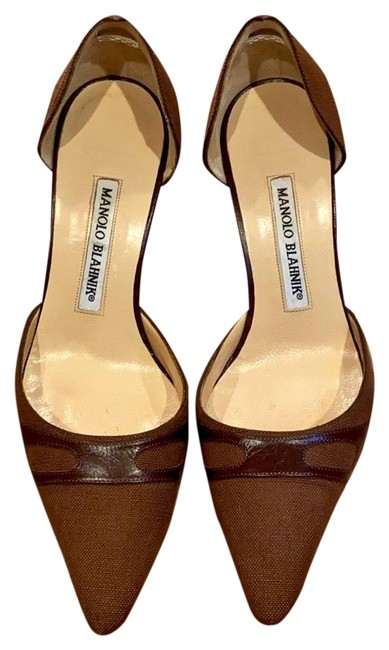 Item - Brown Fabulous High Heels Combination Of Canvas and Leather Pumps Size US 6.5 Regular (M, B)