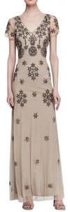 Adrianna Papell V-neck Full Length Beaded Dress