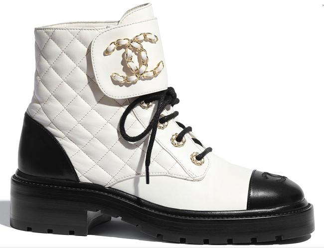 Item - Black 20a White Quilted Gold Cc Chain Combat Lace Up Ankle Boots/Booties Size EU 39.5 (Approx. US 9.5) Regular (M, B)