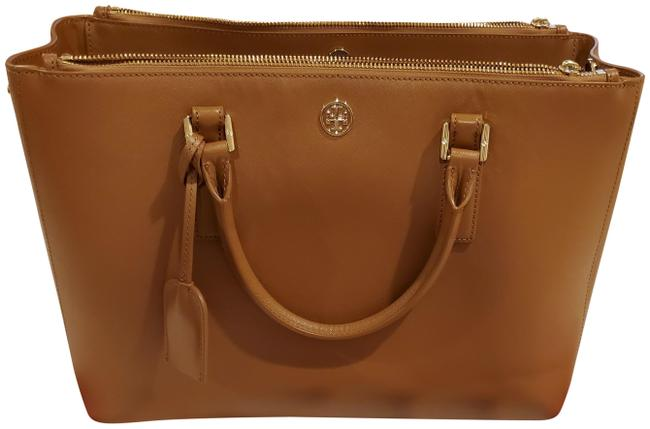 Item - Robinson Double Zip Tiger's Eye Leather Tote