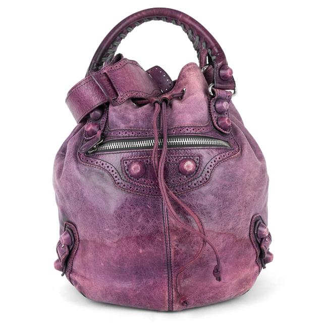 Item - Pompon Giang Brogues Purple Lambskin Leather Satchel