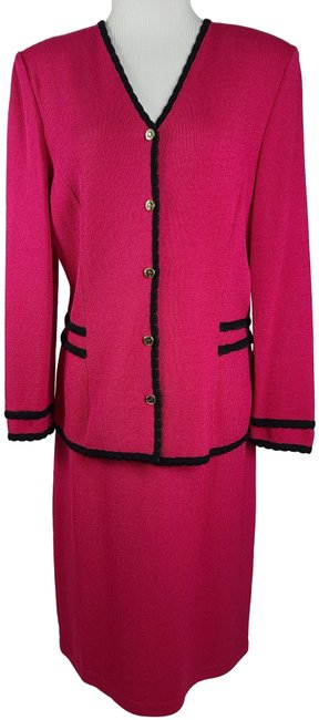 Item - Fuchsia Black New Without Tags Knit 2 Pc Jacket Skirt Suit Size 12 (L)