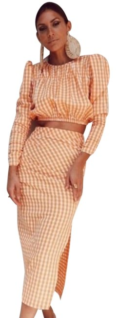 Item - Orange 2 Piece Gingham Co-ord (Top + Skirt Suit Size 6 (S)