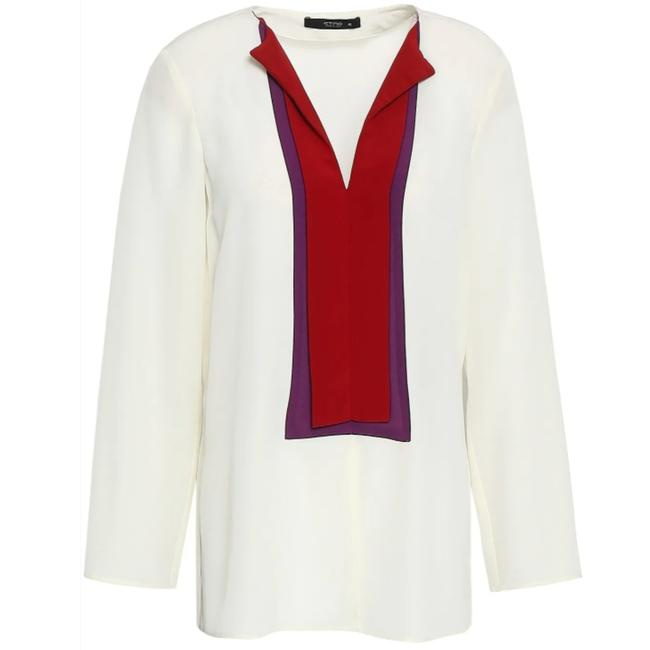 Item - Off White Red and Purple Color Block Silk Crepe Blouse Size 6 (S)