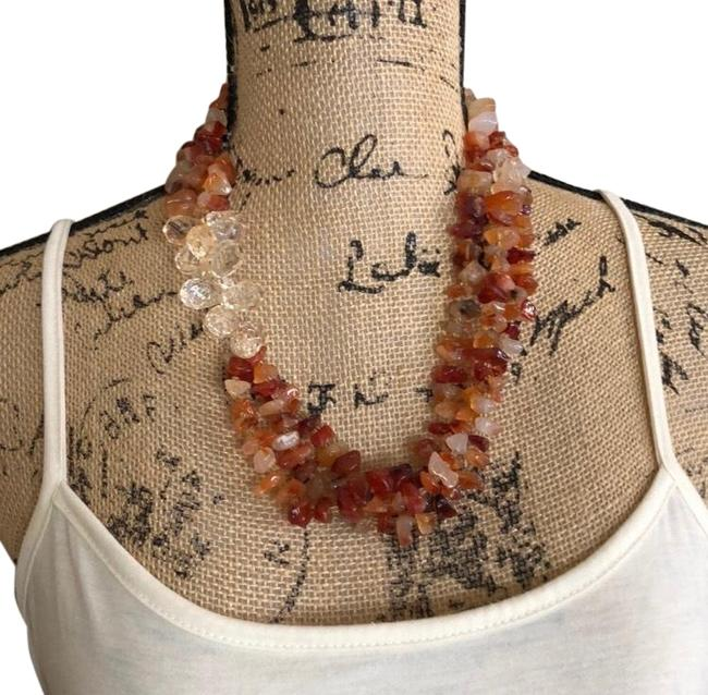 Item - Red Clear Orange Stone Necklace