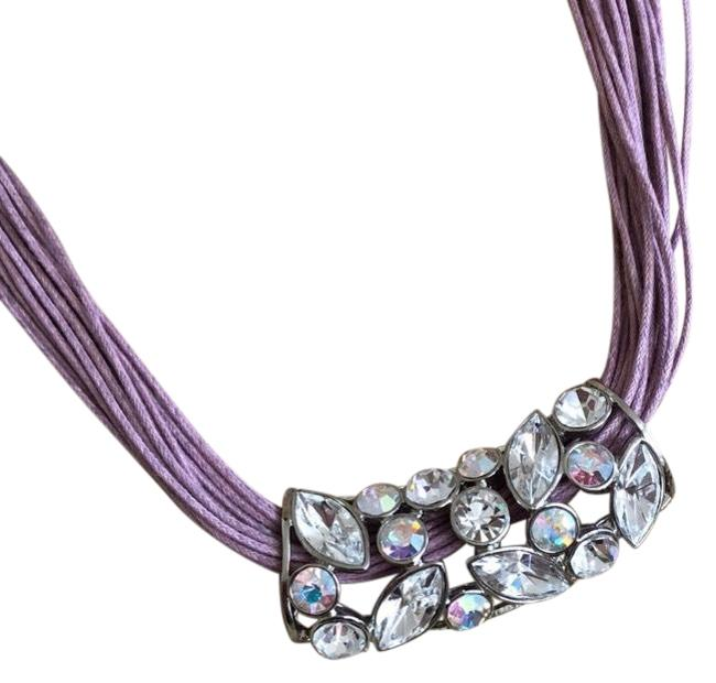 Item - Lavender and Clear Multi Strand Crystal Necklace