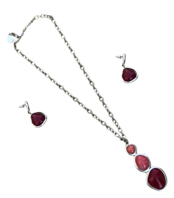 Item - Gold Red Peach Necklace Earring Set