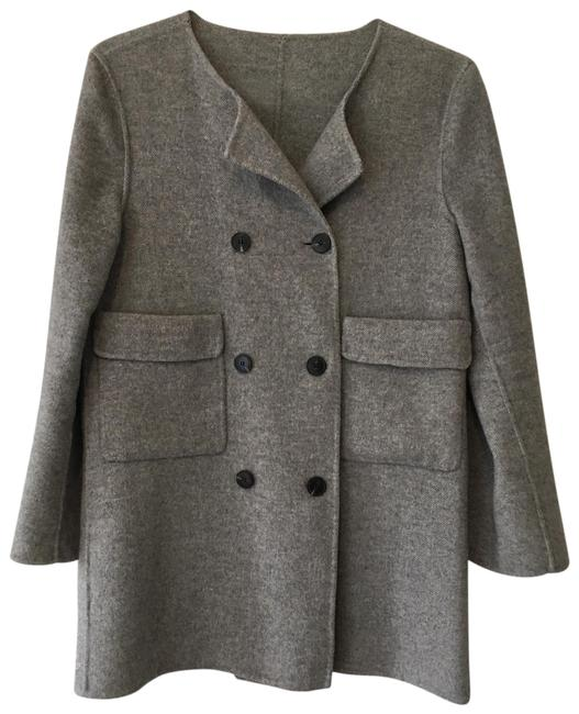 Item - Grey Double-breasted Wool Coat Size 6 (S)
