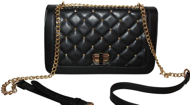 Item - Wt with Square Studs Purse Black Gold Vegan Leather Cross Body Bag